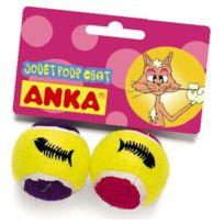 Anka - Jouet pour Chat Lot de 2 Mini Balles Tennis Grelot