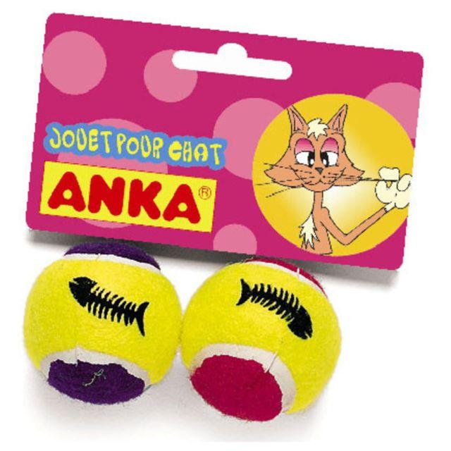 Anka - Jouet pour Chat Lot de 2 Mini Balles Tennis Grelot N/A