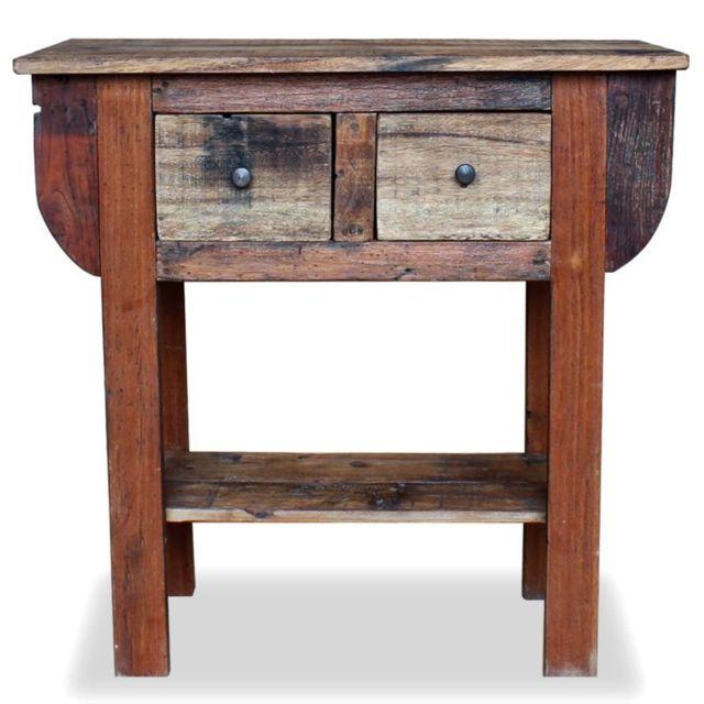 Icaverne - Bouts de canapé ensemble Table console Bois de récupération massif 80 x 35 x 80 cm