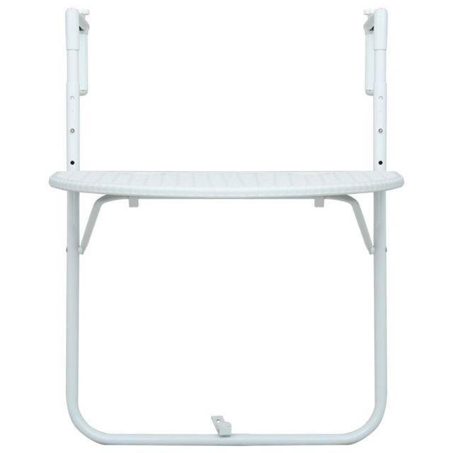 Icaverne Tables de jardin edition Table de balcon Blanc 60x64x83,5 cm Plastique Aspect de rotin