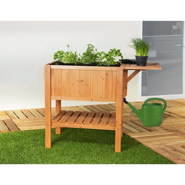 Sol Pour Balcon Pas Cher empasa - jardinière pour balcon hors-sol surélevée cube 1 - bois de