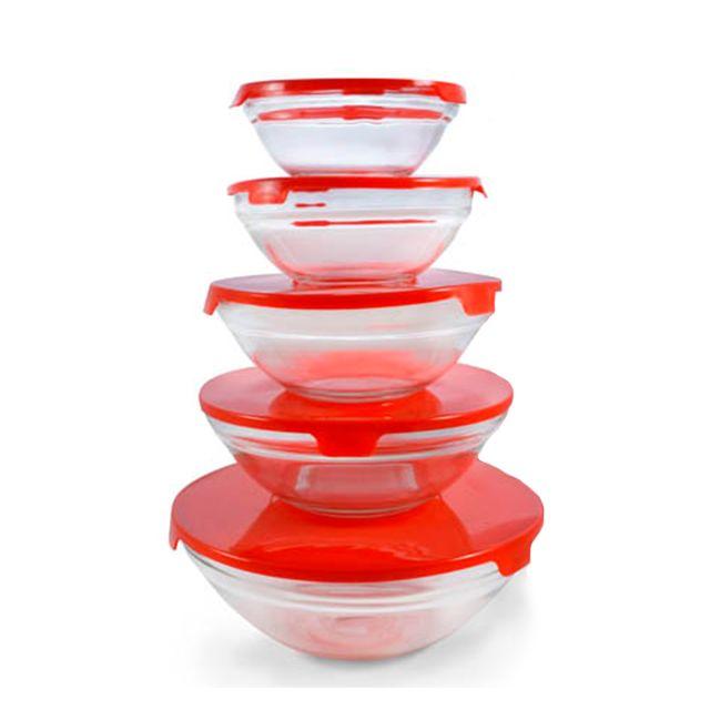 JOCCA lot de 5 bols en cristal avec couvercle - 4473