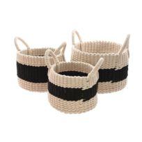 Decoris - Panier de rangement rond avec anse en coton bicolore - Set de 3 Pali