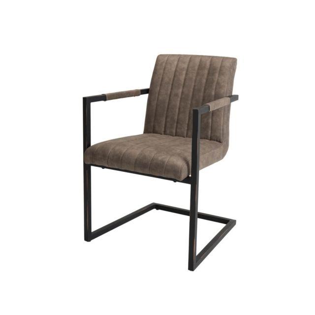 Bobochic Lot de 2 fauteuils tissu taupe Ofis