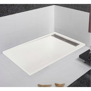 mcbath receveur de douche coulement lin aire androm de blanc 100x160 pas cher achat vente. Black Bedroom Furniture Sets. Home Design Ideas
