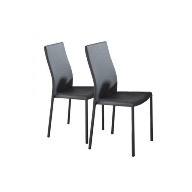 Inside 75 Lot de 2 chaises design Hellen en tissu enduit polyuréthane simili façon cuir gris
