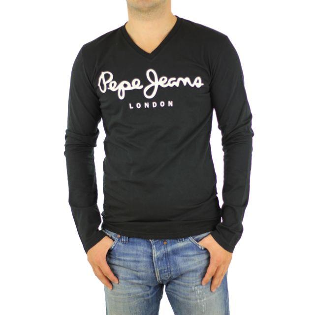 Pepe Jeans - Tee-shirt homme Ml Original Stretch V Long noir - pas cher  Achat   Vente Tee shirt homme - RueDuCommerce 867ffeefb82b