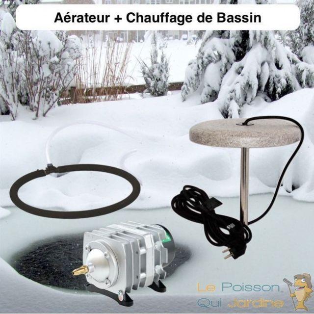 Le Poisson Qui Jardine Lot Chauffage Bassin 150W + Set Aération Pompe 4200 l/h 1 diffuseur poreux 35 cm