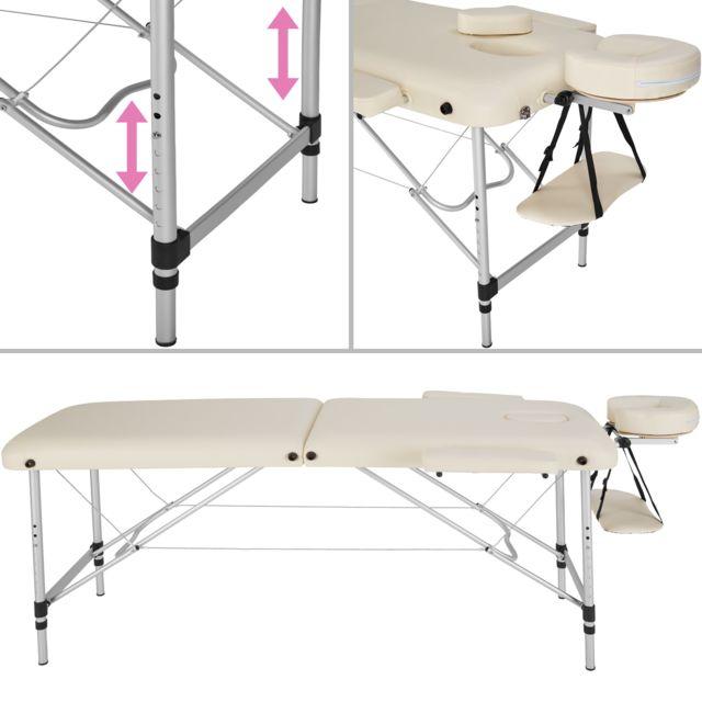 Tectake Table De Massage Pliante Portable 2 Zones En Aluminium