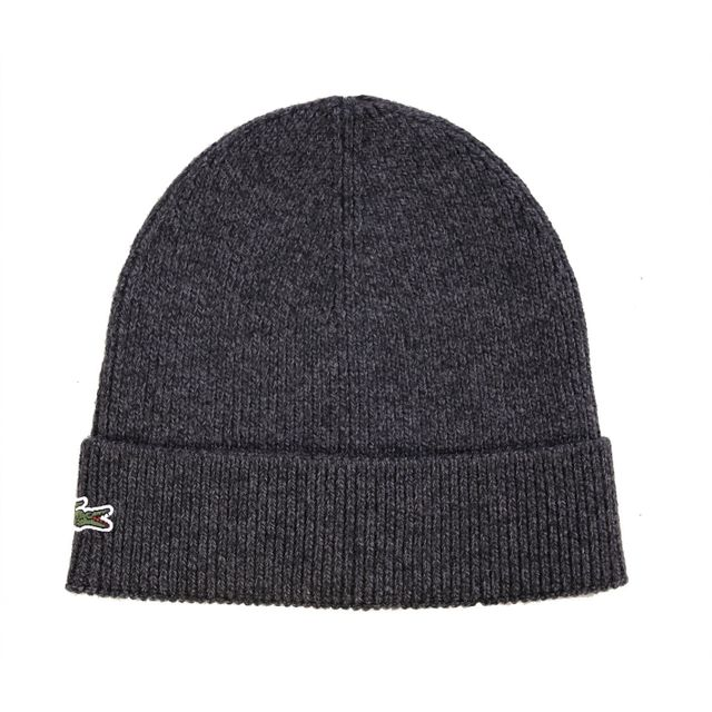 fb8c24050d Lacoste - Homme - Bonnet à revers en laine gris jaspe Rb3502 - pas cher  Achat / Vente Casquettes, bonnets, chapeaux - RueDuCommerce
