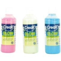 Creall - peinture phosphorescente couleur assortie - lot de 3 flacons de 250ml