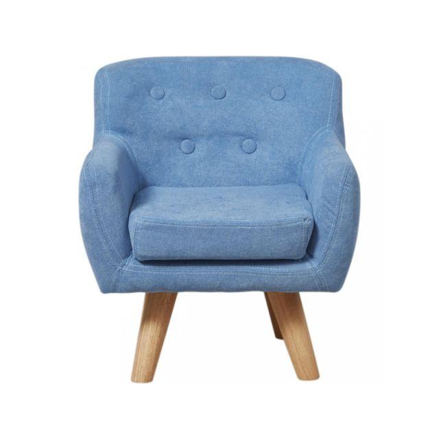 Bobochic Fauteuil enfant confortable Ormond Bleu
