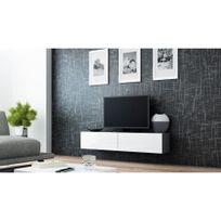 Chloe Design - Meuble tv design suspendu Vito 140cm noir et blanc