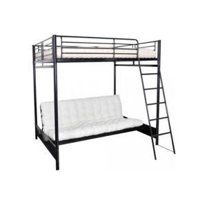 declikdeco lit mezzanine 140x190 avec banquette convertible int gr e palco pas cher achat. Black Bedroom Furniture Sets. Home Design Ideas