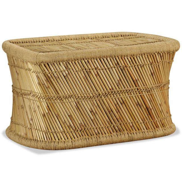 Vidaxl Table Basse Rectangulaire Bambou Table d'Appoint Table d'Extrémité