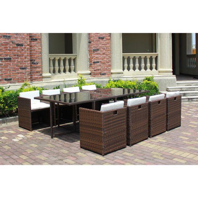 CONCEPT USINE Miami 8C marron/blanc : ensemble de jardin encastrable 8 places en résine tressée