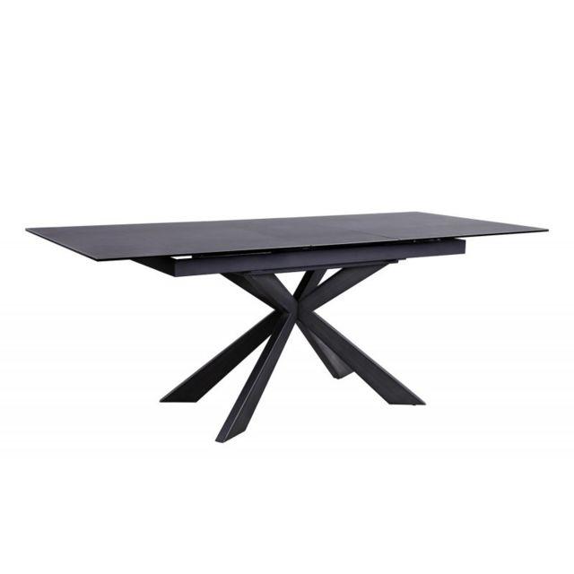 Meubletmoi Table de repas extensible céramique gris anthracite - Starlight