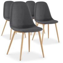 Lot de 4 chaises scandinaves Bali tissu Gris