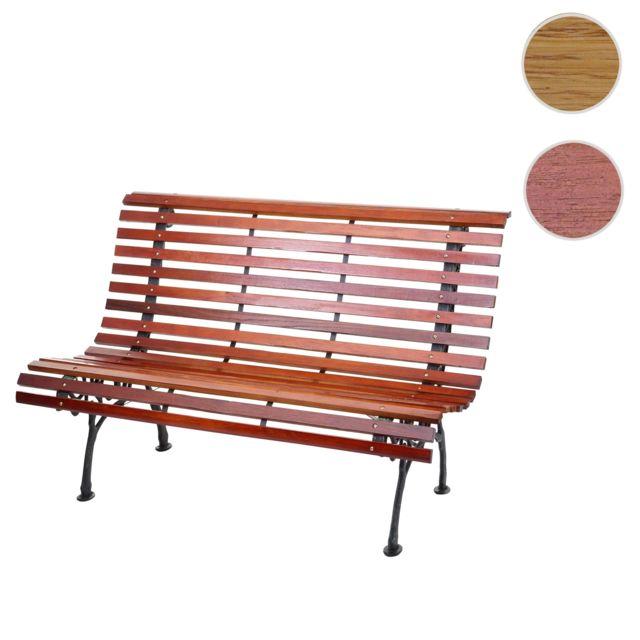 Mendler Banc de jardin Hwc-f97, banc du parc, banquette en bois ~ 2 places, 122cm, 24kg, marron