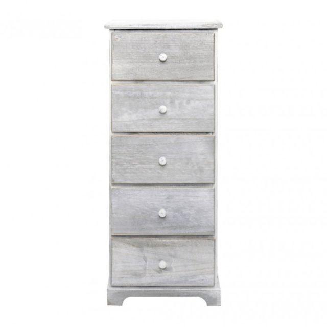 Mobili rebecca chiffonier chevet 5 tiroirs bois blanc for Mobili rebecca