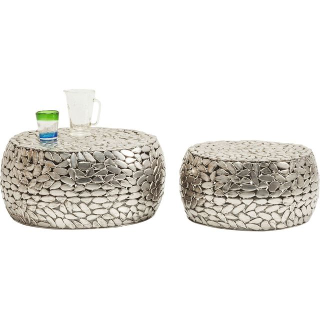 Karedesign Tables basses Pebbles Deluxe argent set de 2 Kare Design