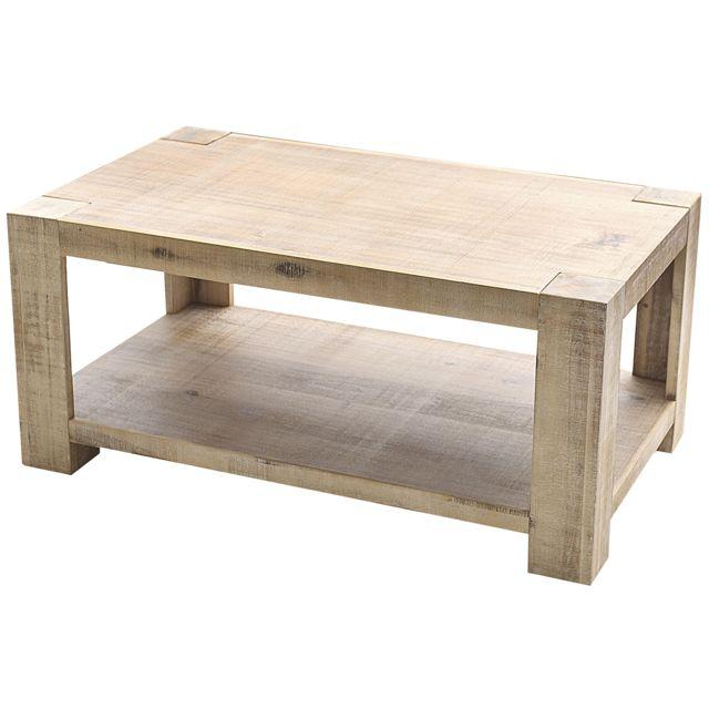 COMFORIUM Table basse 100 cm en bois d'acacia massif coloris naturel