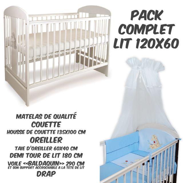 TOMI PACK COMPLET Lit bébé 12 Girafe Blanc+Matelas+Parure complète BLEUE+Baldaquin