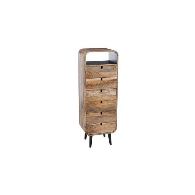 Commode 6 tiroirs 40x30x115cm en bois naturel