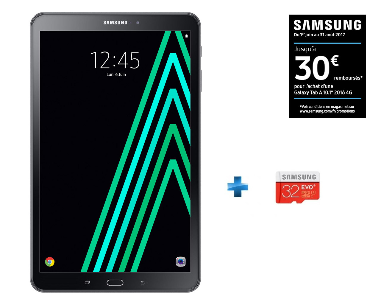 Galaxy Tab A6 - SM-T580NZKAXEF - Wifi - Noir + Micro SDHC EVO Plus 32 Go + Adaptateur SD