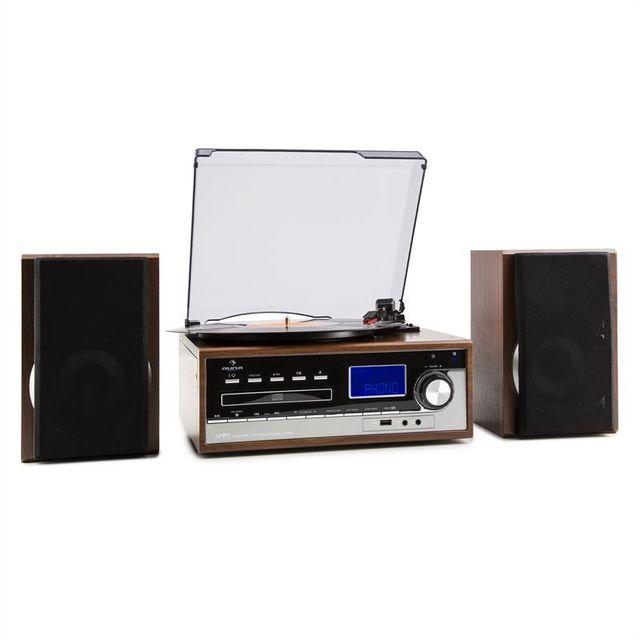 AUNA Deerwood Chaîne stéréo Tourne-disque USB MP3 Encodage CD Cassette FM AUX