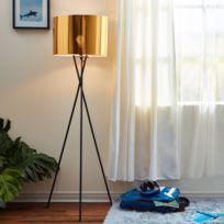 VERSANORA - Cara lampadaire trépied lampe de sol lampe sur pied abat-jour doré