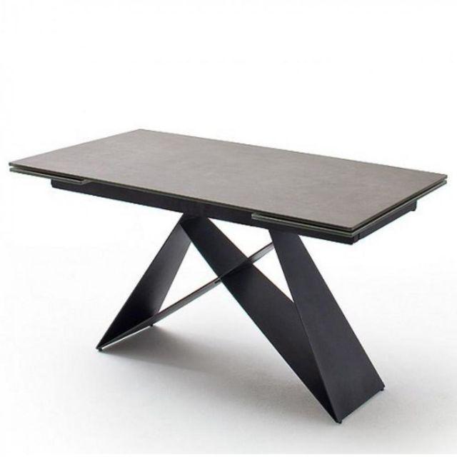 Inside 75 Table repas extensible Konan céramique gris 160 x 90 cm