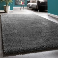 Paco-home - Shaggy Tapis Longues Mèches Super Soft Rio Xxl Shaggy Tapis Unicolore Anthracite 50X90