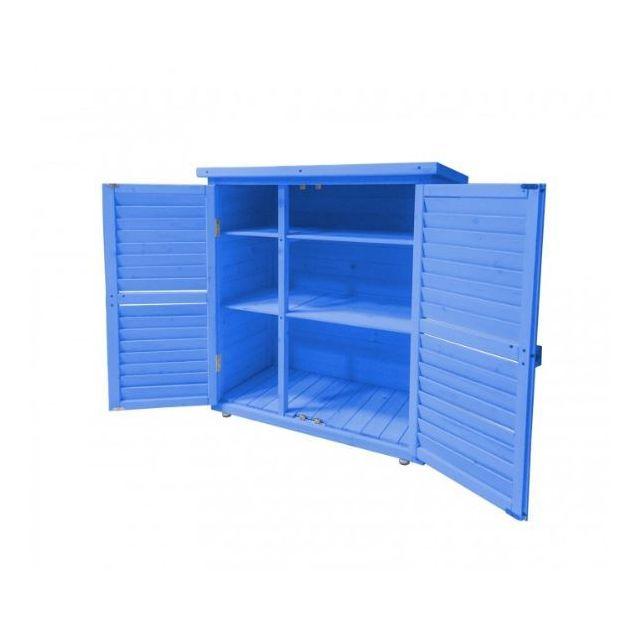 Habrita - Armoire de rangement lasurée bleue 0.40 m2 toit mono-pente 3  étages - Box0905