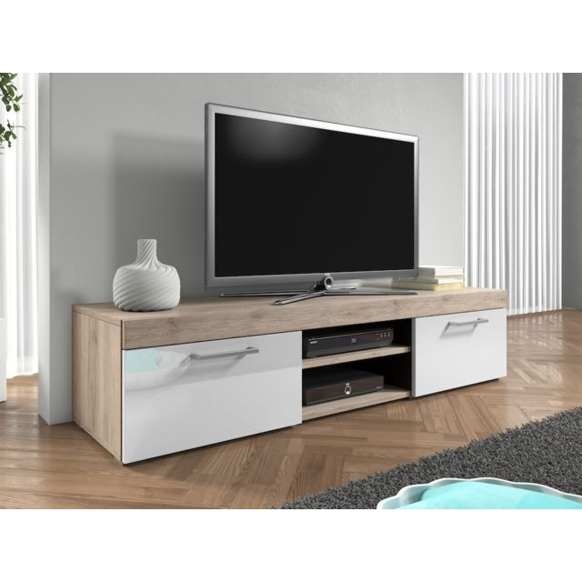 mpc meuble tv 140 cm aspect ch ne mat et portes laqu es. Black Bedroom Furniture Sets. Home Design Ideas