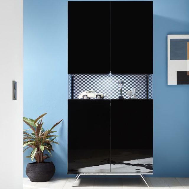 Kasalinea Vaisselier noir laqué design lumineux Palermo 7