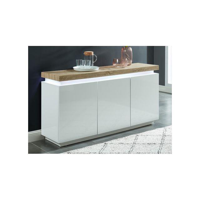 Buffet HALO - 3 portes - MDF laqué - Avec LEDs - Blanc et chêne