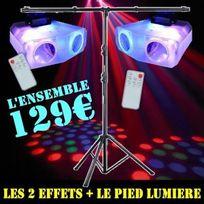 Ibiza Light - Pack Jeux De Lumiere avec 2 Effets + 1 Pied Portique Pa Dj Led Sono