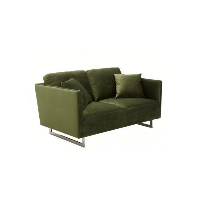 Canapé 2 places en velours ONELIA - Vert
