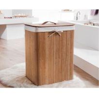 La Boutique Du Rangement - Panier a linge bambou naturel - marron