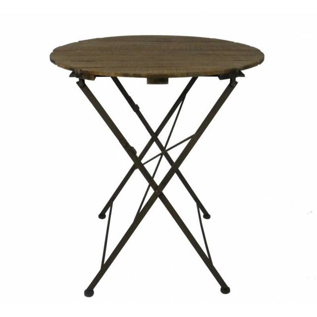 L'HÉRITIER Du Temps Table Ronde Desserte Pliable Console d'Appoint Intérieur Extérieur Guéridon en Bois et Fer 70x70x80cm