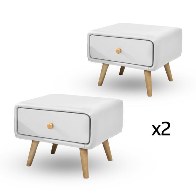 Meubler Design Lot de 2 Chevet scandinave design blanc