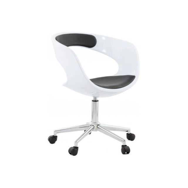 Kokoon Design Chaise de bureau blanche et noire Pivotante Aussi