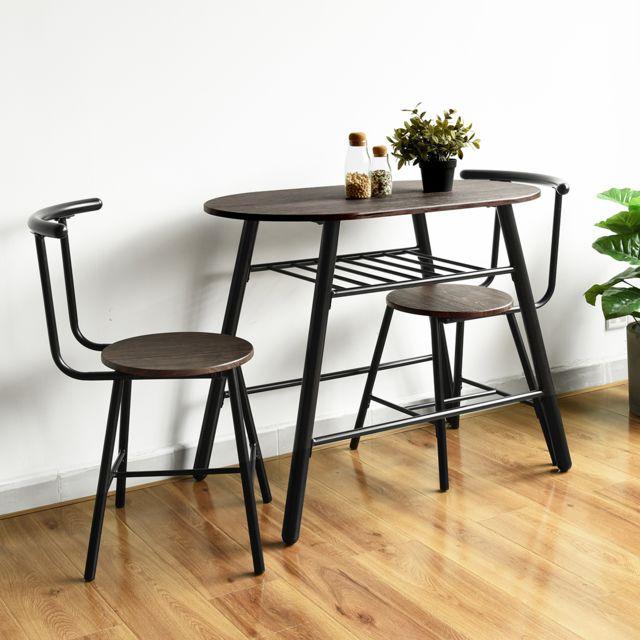Mobilia Ensemble table et 2 chaises 2 places petit déjeuner dîner aux chandelles