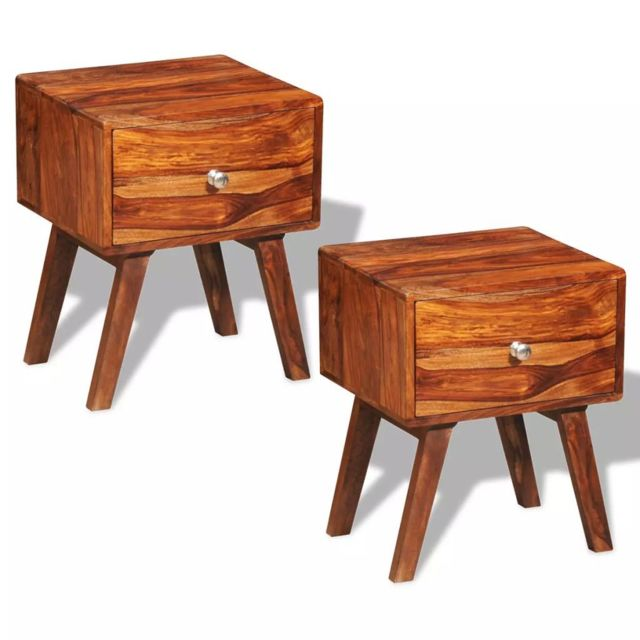 Contemporain Tables serie Saint-Domingue Table de chevet 2 pcs avec 1  tiroir 55 cm Bois massif de Sesham