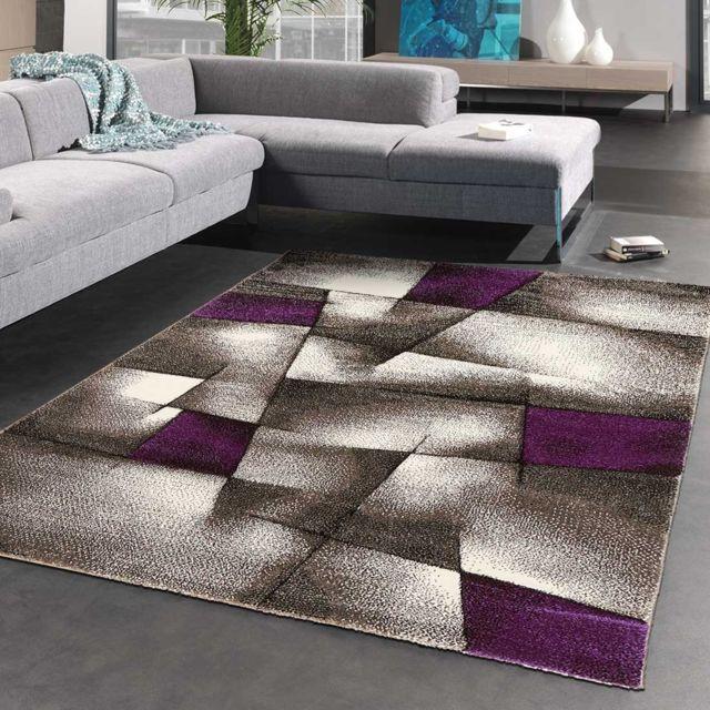 IMPALO - Tapis de Salon Moderne Design PARLAK 3D violet - pas cher ...