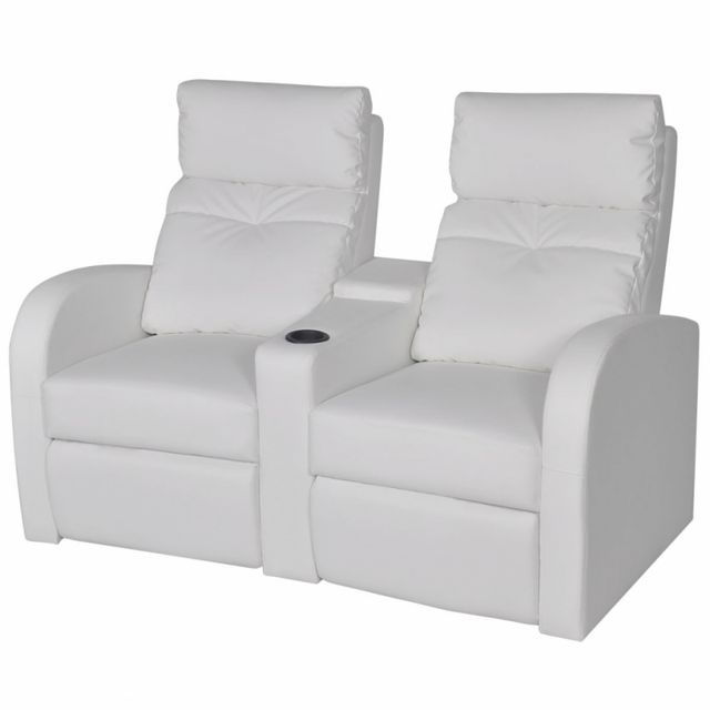 Casasmart Canapé 2 sièges intégrés inclinable similicuir blanc
