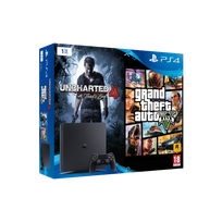 SONY - Pack Nouvelle PS4 1To Black + Uncharted 4 + GTA V