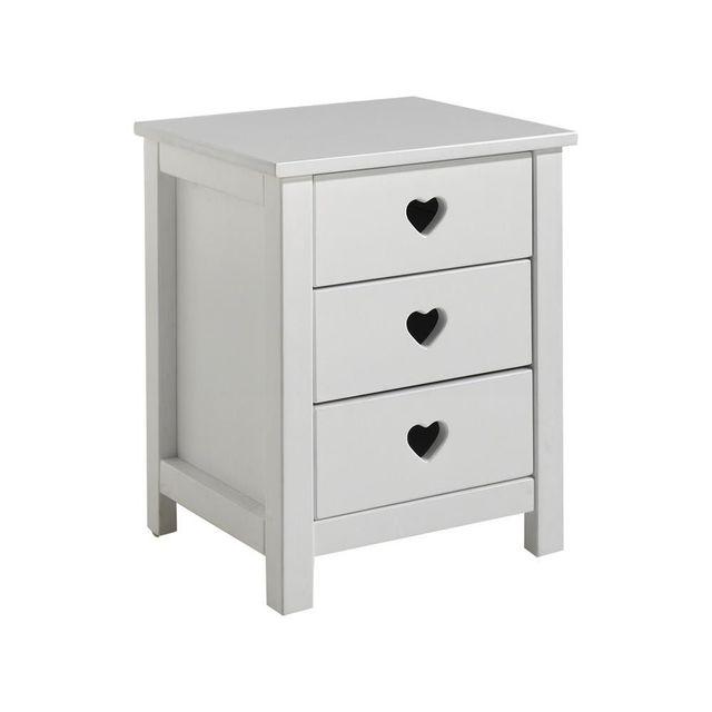 Comforium table de chevet romantique 45 cm 3 tiroirs en pin massif et mdf coloris blanc - Table de chevet en pin massif ...
