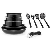 MARC VEYRAT - Batterie de cuisine 10 piéces noire -Induction- Poignée amovible